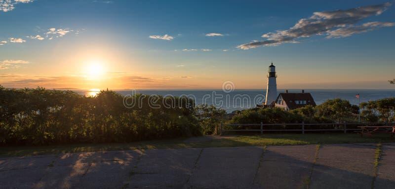 在海角伊丽莎白,新英格兰,缅因,美国的波特兰灯塔 库存图片