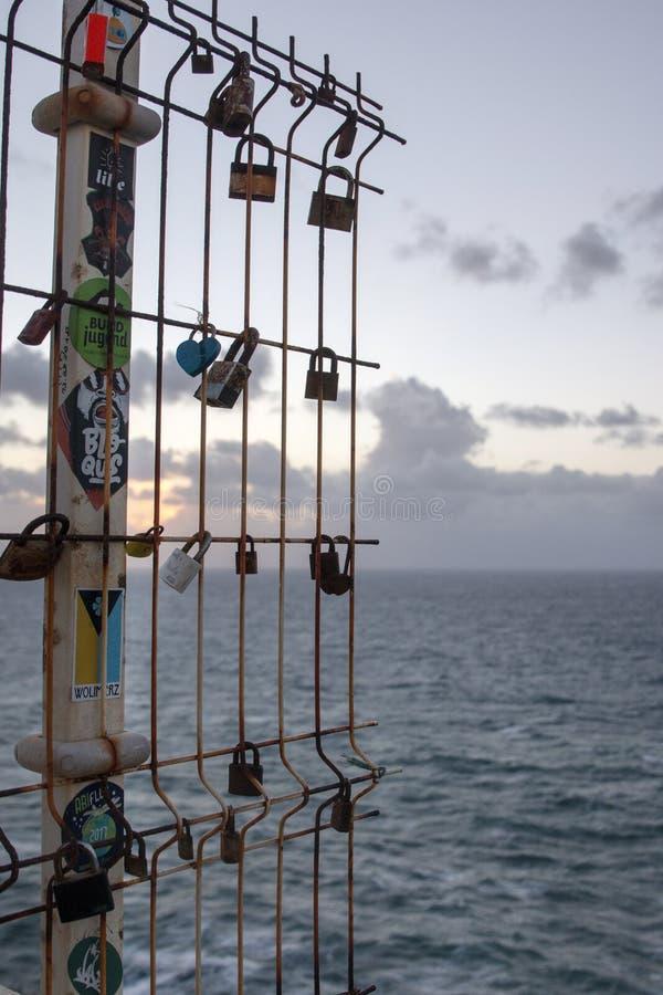 在海角圣地维森特的锁 免版税库存照片