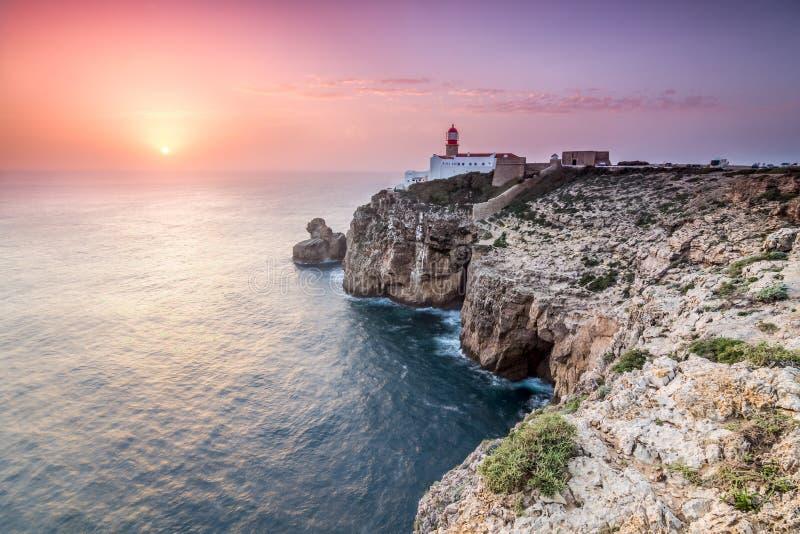 在海角圣文森特,萨格里什,阿尔加威,葡萄牙的日落 免版税库存照片