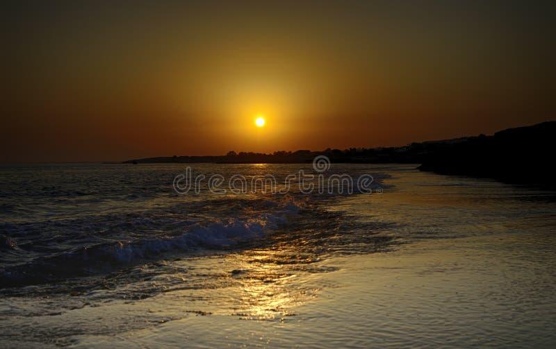 在海角Greko塞浦路斯的日落 免版税图库摄影