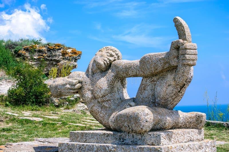 在海角Kaliakra的纪念碑 图库摄影