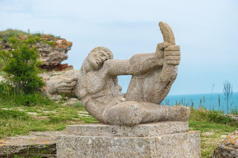 在海角Kaliakra的阿切尔纪念碑在保加利亚 库存照片