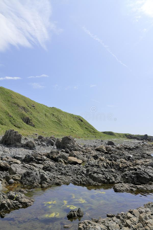 在海角Nyudozaki的沿海大阳台 免版税库存照片