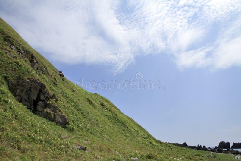 在海角Nyudozaki的沿海大阳台 库存照片