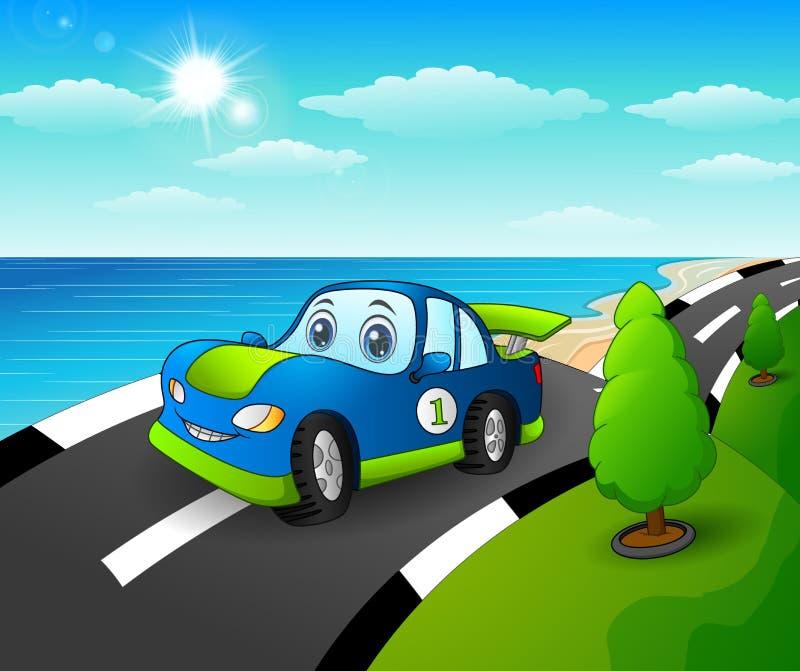 在海边路的蓝色跑车 库存例证