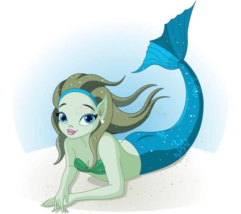 在海运之下的美人鱼女孩 库存例证