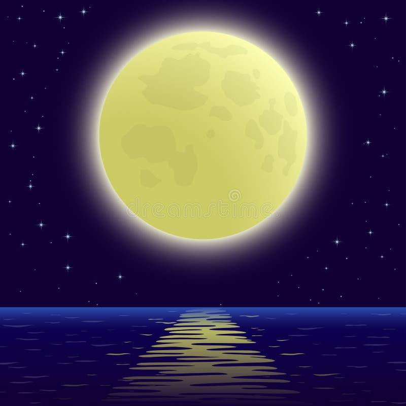 在海运的月亮 向量例证