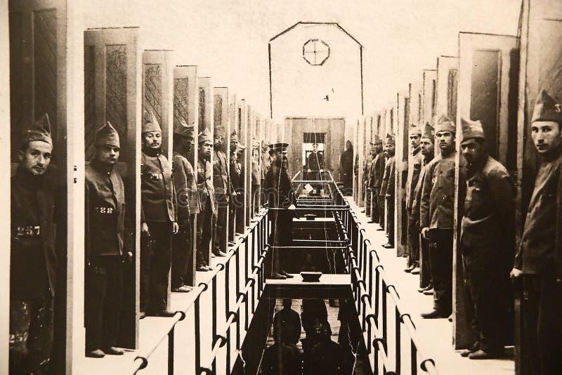 在海,监狱和南极博物馆的原始的古老照片在乌斯怀亚,阿根廷 图库摄影