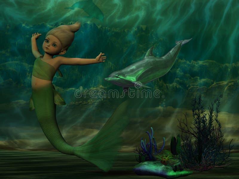 在海洋下的美好的美人鱼游泳 皇族释放例证