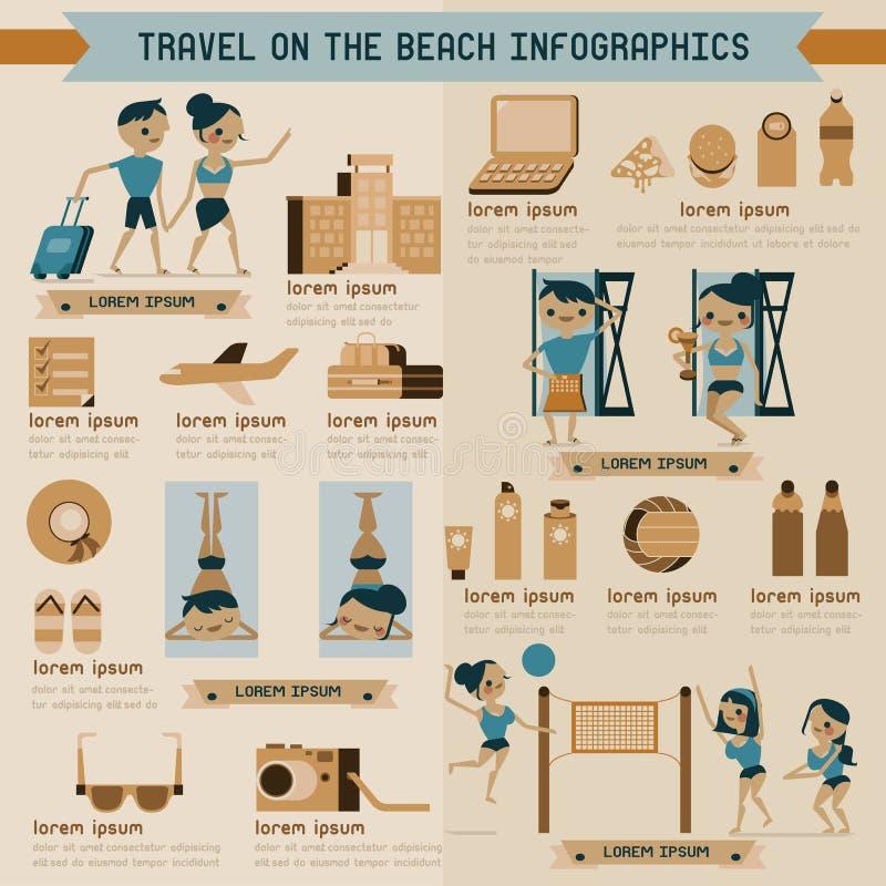 在海滩信息图表的旅行 皇族释放例证