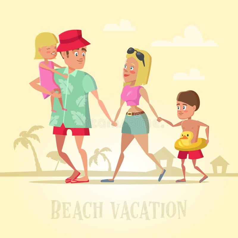 在海滩假期的愉快的家庭 你好暑假 向量例证