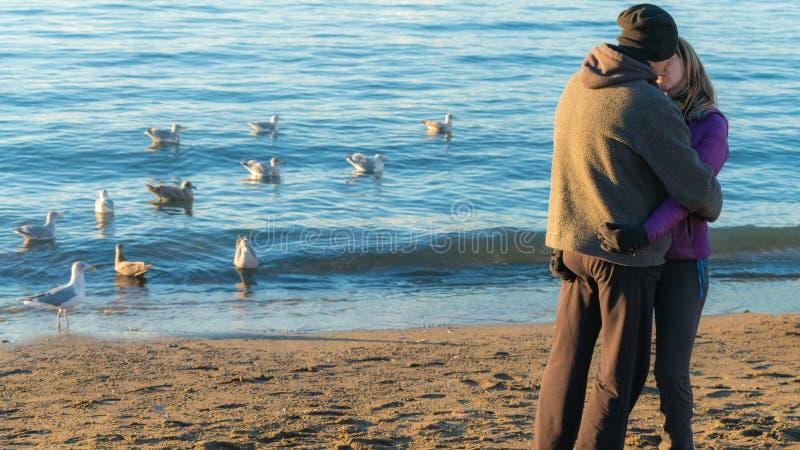 在海滩华伦泰/恋人的亲吻 图库摄影