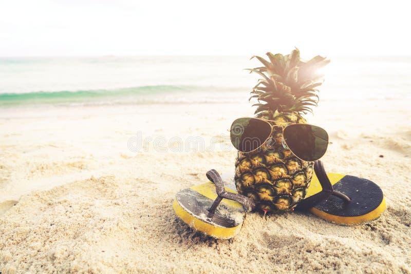 在海滩-时尚的行家菠萝在夏天 库存照片