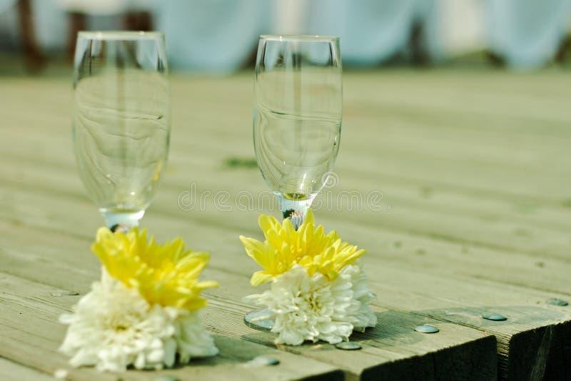 在海洋样式的婚礼葡萄酒杯在珊瑚颜色 免版税库存照片