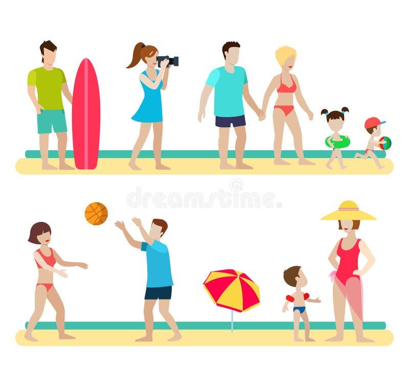 在海滩海的平的人家庭:冲浪者,排球,夫妇 库存例证