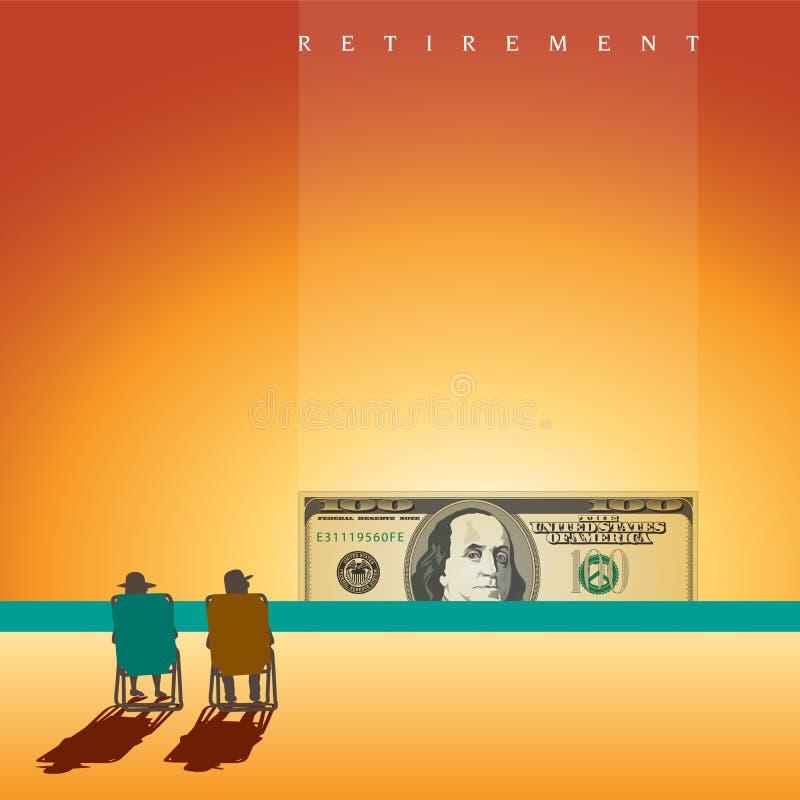 在海滩的一对退休的夫妇与足够的金钱 向量例证