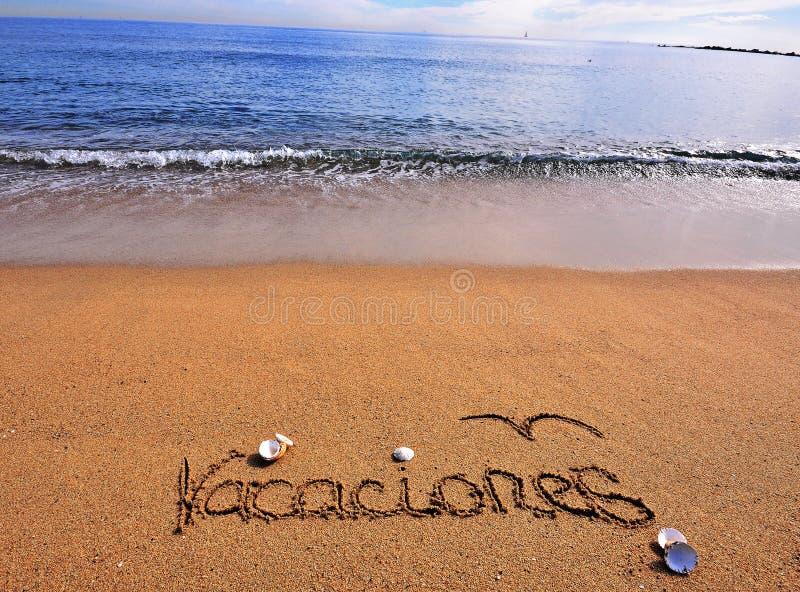 在海滩的假期标志 库存照片