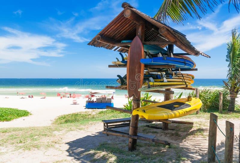 在海滩的冲浪板在里约热内卢 免版税库存照片