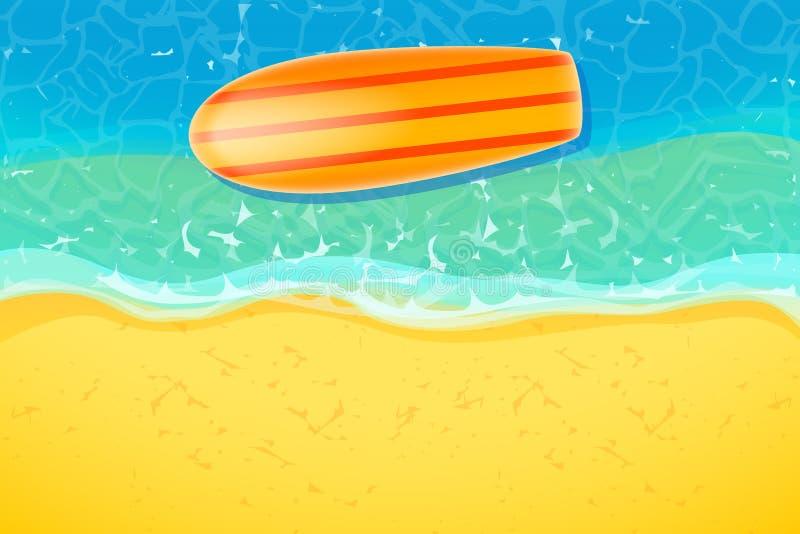 在海滩的冲浪板 皇族释放例证