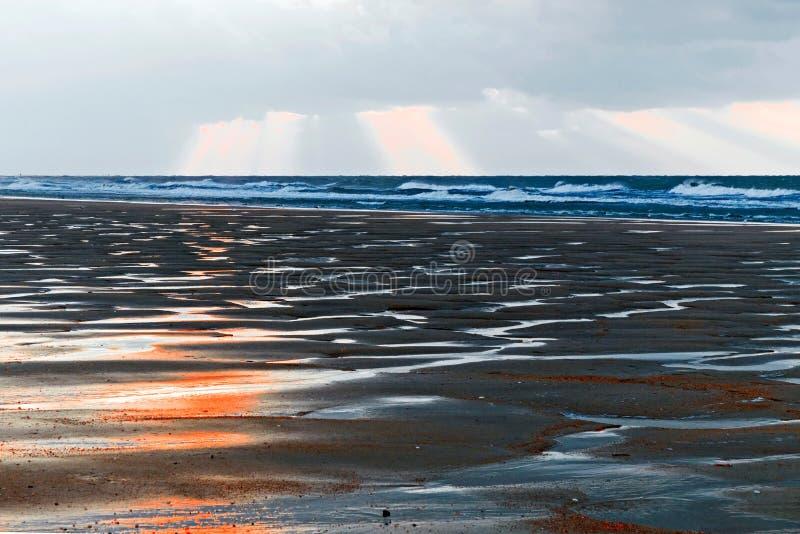 在海滩的剧烈的大气与沙丘 免版税库存照片