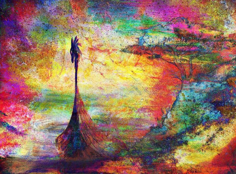 在海滩的北欧海盗小船与树,颜色绘画 向量例证
