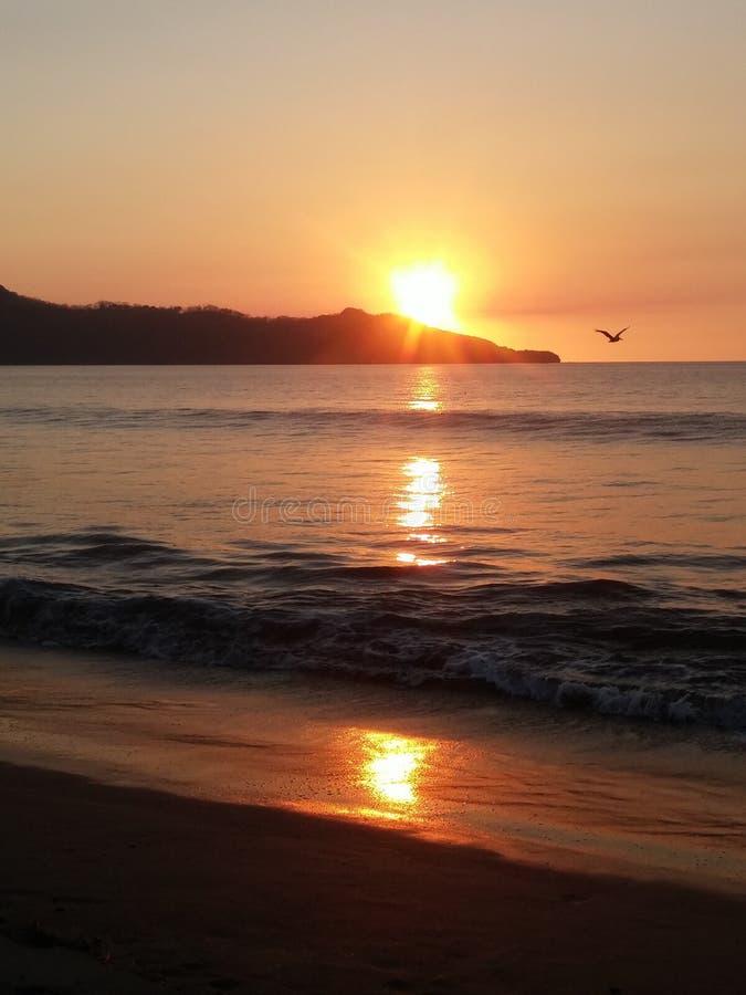 在海滩的另一日落 免版税库存图片