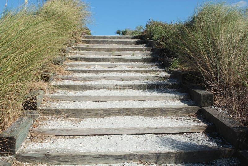 在海滩的台阶 图库摄影
