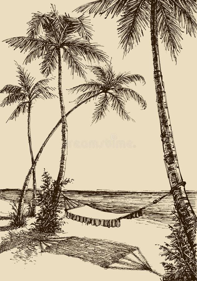 在海滩的吊床 向量例证