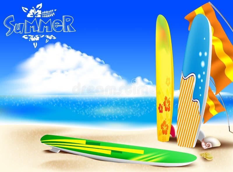 在海滩的夏天冒险与五颜六色的冲浪板 库存例证