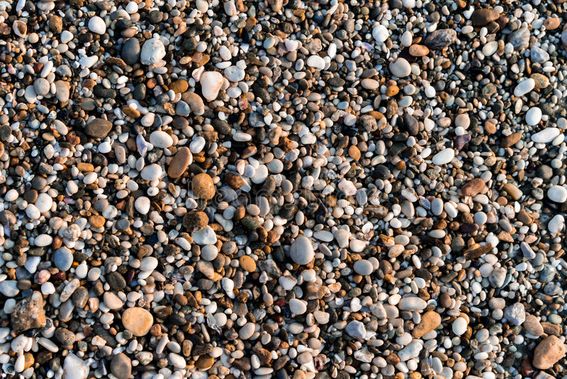 在海滩的多彩多姿的小卵石 免版税库存图片