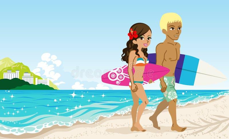 在海滩的夫妇 向量例证