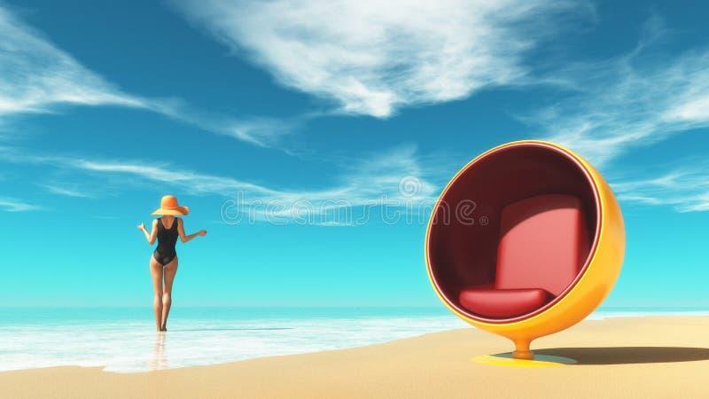 在海滩的女孩和海滩睡椅 库存图片
