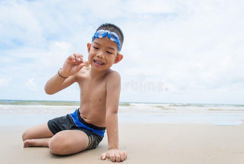 在海滩的嬉戏的男孩和寄居蟹。 免版税库存照片