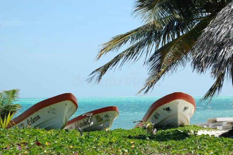 在海滩的小船在墨西哥 库存照片