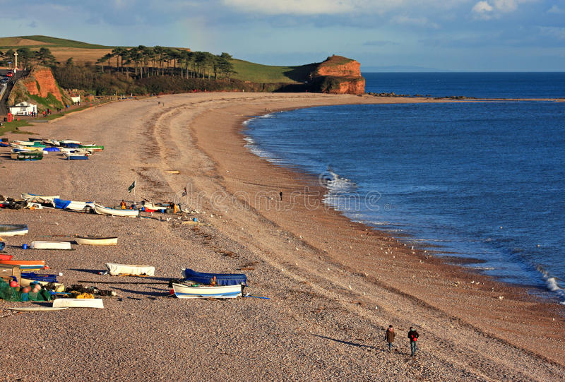 Budleigh Salterton海滩 库存照片