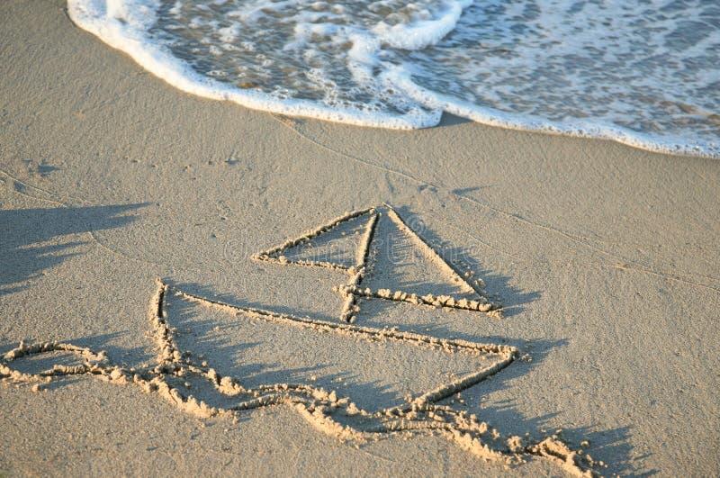 在海滩的帆船例证 免版税图库摄影
