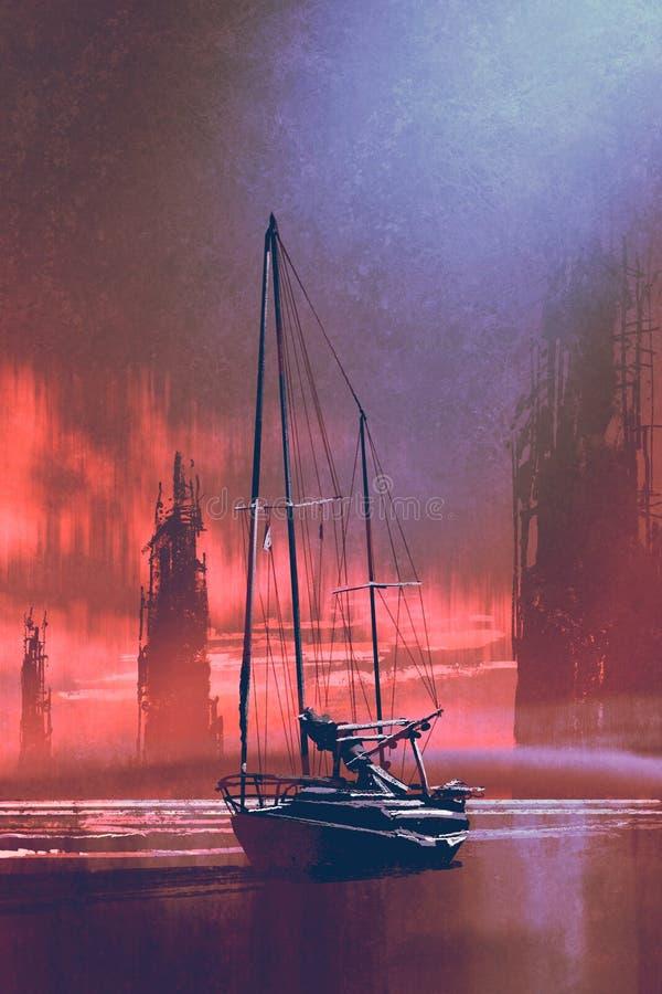 在海滩的帆船在日落 皇族释放例证