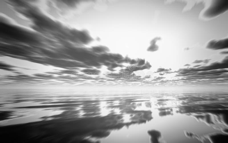 在海洋的抽象黑白3D日落 库存例证