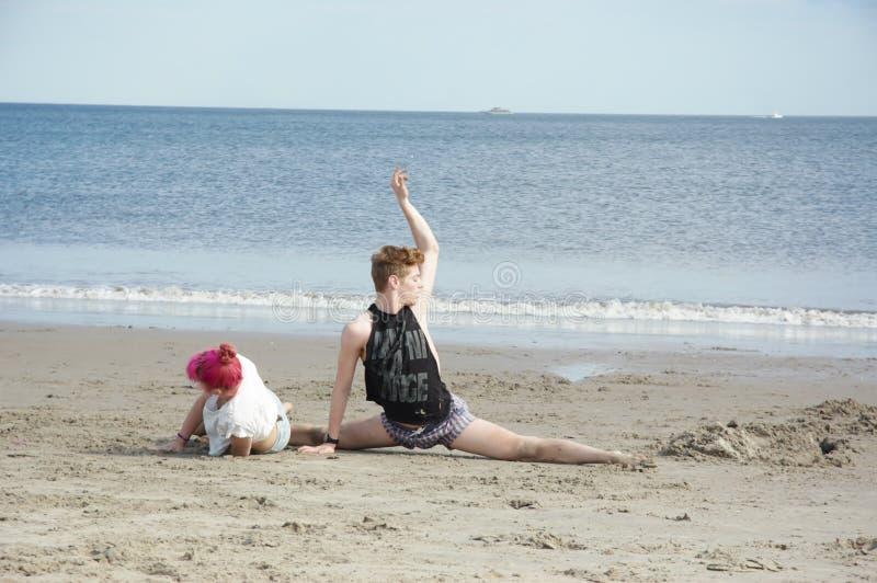 在海滩的排练 库存照片