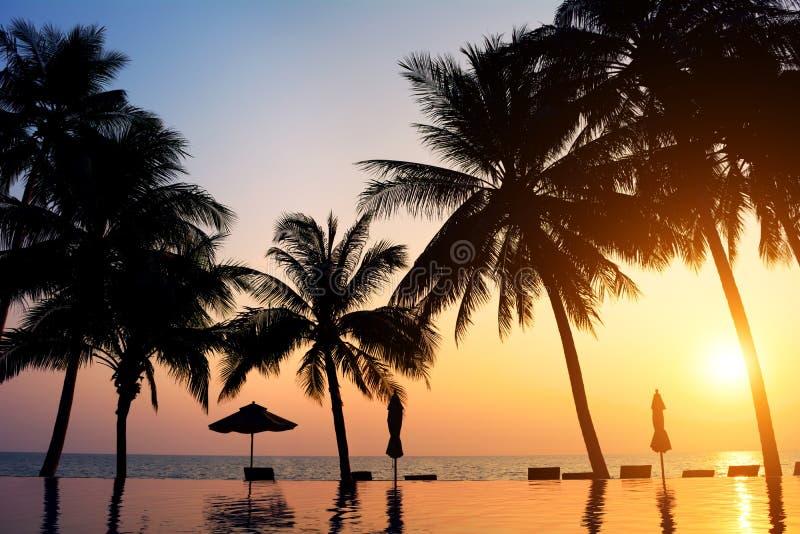 在海滩的日落。酸值张 免版税库存图片