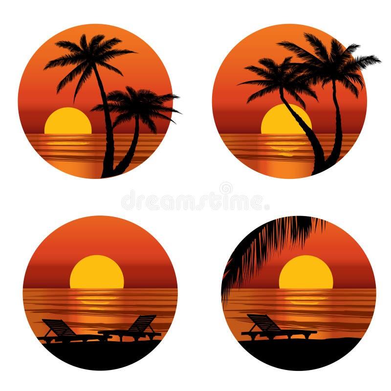 在海滩的日落视图与棕榈树。热带手段集合 皇族释放例证