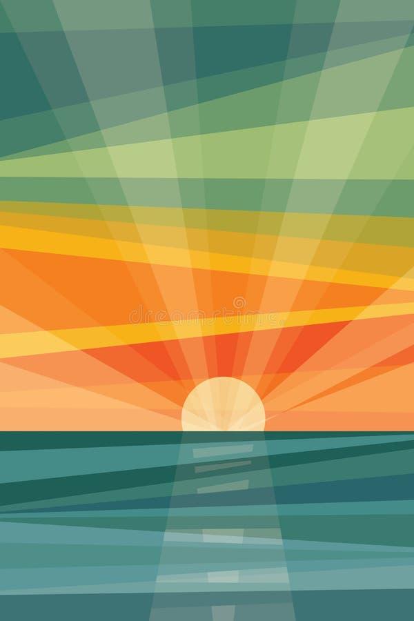 在海滩的日落 抽象几何 库存图片