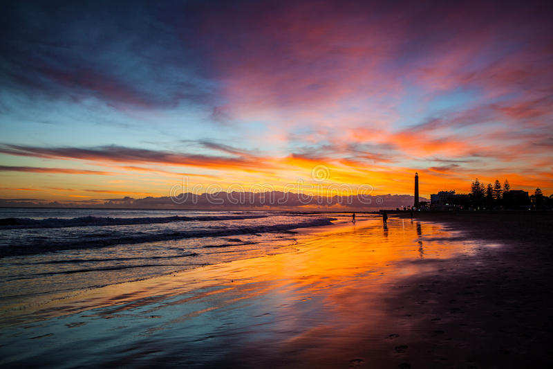 在海滩的日落 库存照片