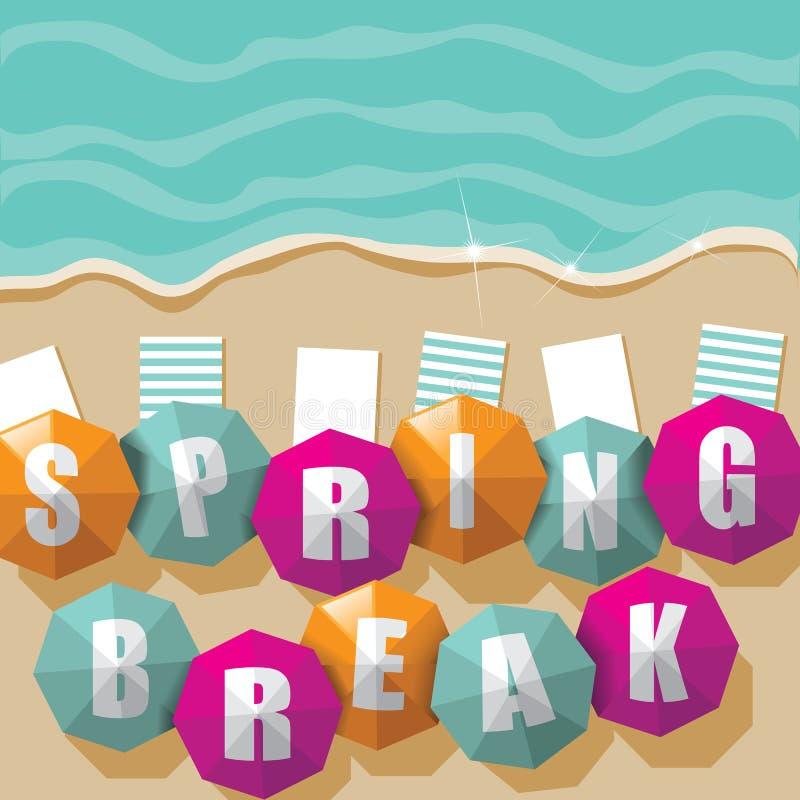 在海滩的春假伞 库存例证