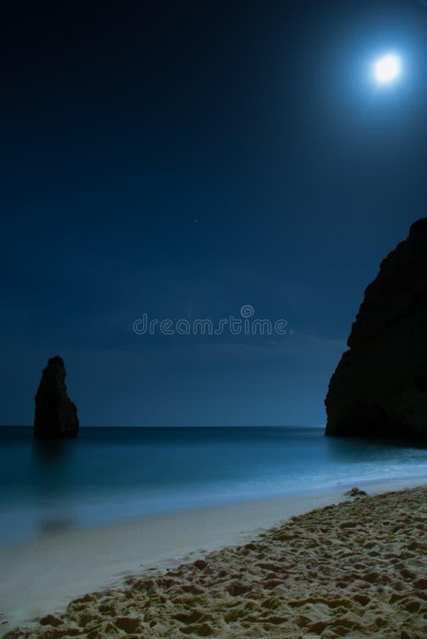 在海滩的月光与月亮 免版税库存照片