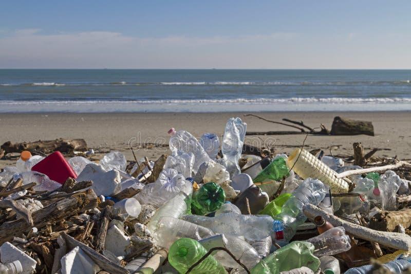 在海滩的有害废料 库存照片