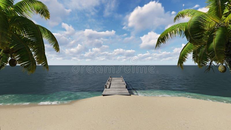 在海滩的木码头与棕榈树 免版税库存照片