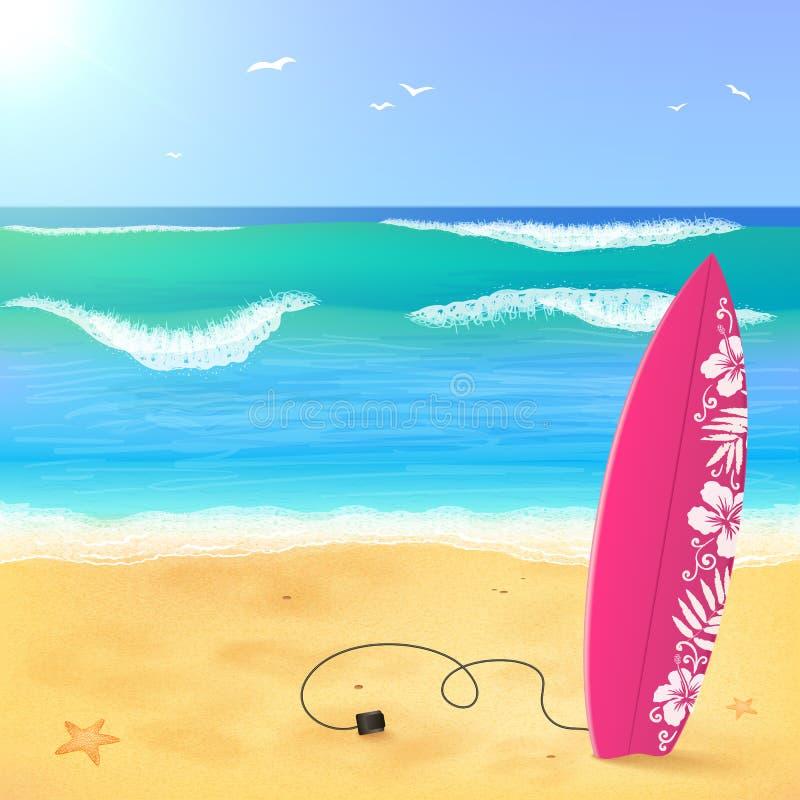 在海滩的桃红色水橇板与波浪 库存例证