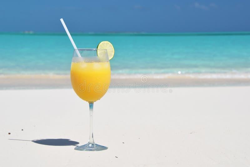 在海滩的橙汁 免版税库存照片