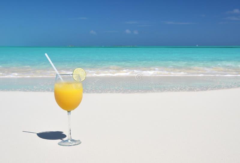 在海滩的橙汁 库存照片